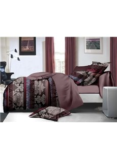 Elegant Jacobean and Stripe Print 4-Piece Polyester Duvet Cover Sets