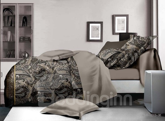 Retro Style Paisley Print 4-Piece Polyester Duvet Cover Sets