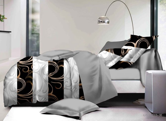 Fancy Stripes and Scroll Pattern Print Polyester 4-Piece Duvet Cover Sets