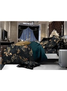 European Style Luxury Floral Print Polyester 4-Piece Duvet Cover Sets