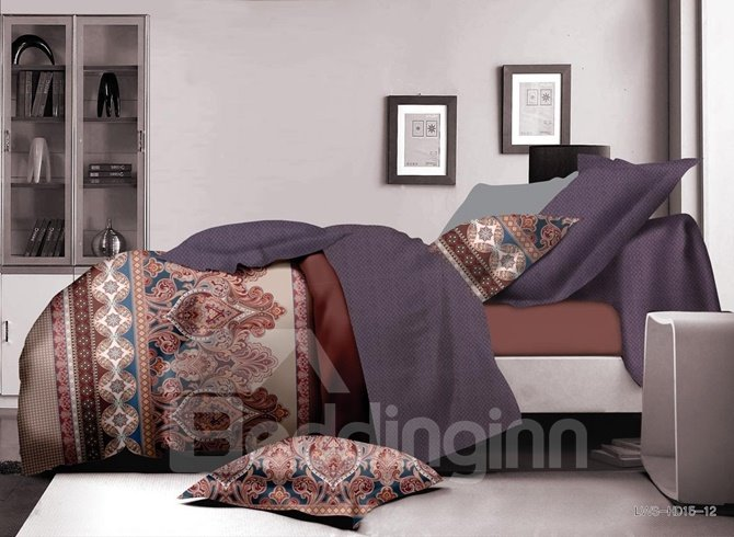 Royal Damask Print Polyester 4-Piece Duvet Cover Sets