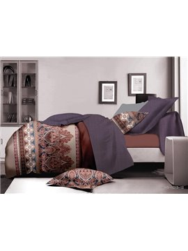 Royal Damask Print Polyester 4-Piece Duvet Cover Sets