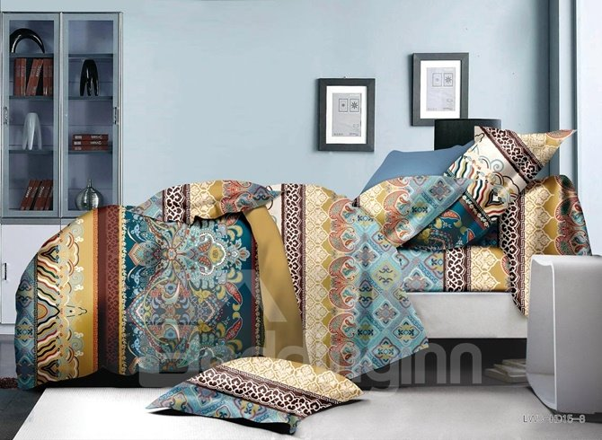 Bright Ethnic Style Polyester 4-Piece Bedding Sets/Duvet Cover