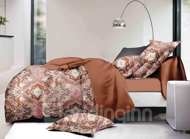 Chic Damask Print Polyester 4-Piece Duvet Cover Sets
