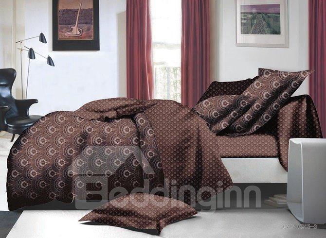 Unique Vintage Style Brown Polyester 4-Piece Duvet Cover Sets