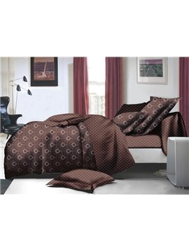 Unique Vintage Style Brown Polyester 4-Piece Duvet Cover Sets