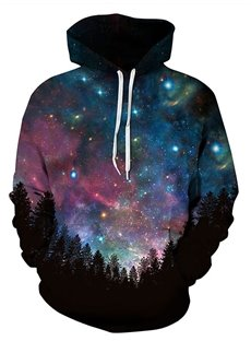 Long Sleeve Dark Blue Galaxy Pattern Pocket 3D Painted Hoodie