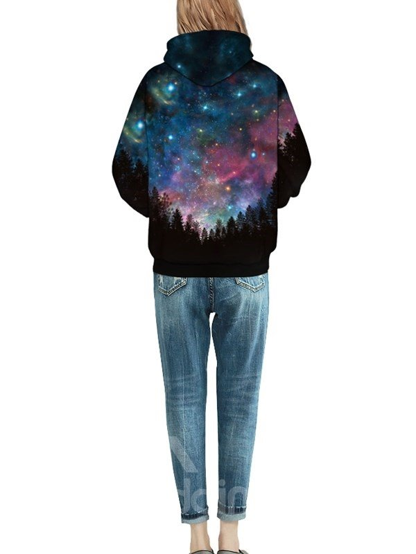 Forest Dark Night Long Sleeve Galaxy Pattern Front Pocket 3D Painted Hoodie