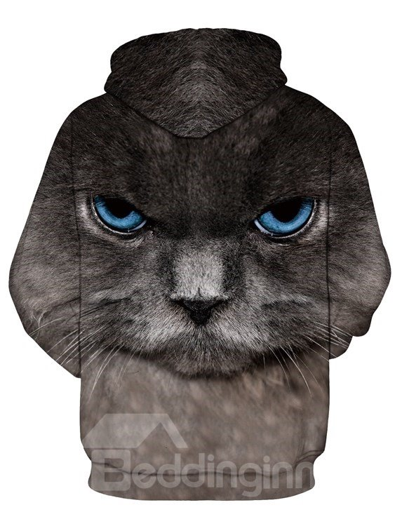 Long Sleeve Persian Cat Face Pattern Pocket 3D Painted Hoodie