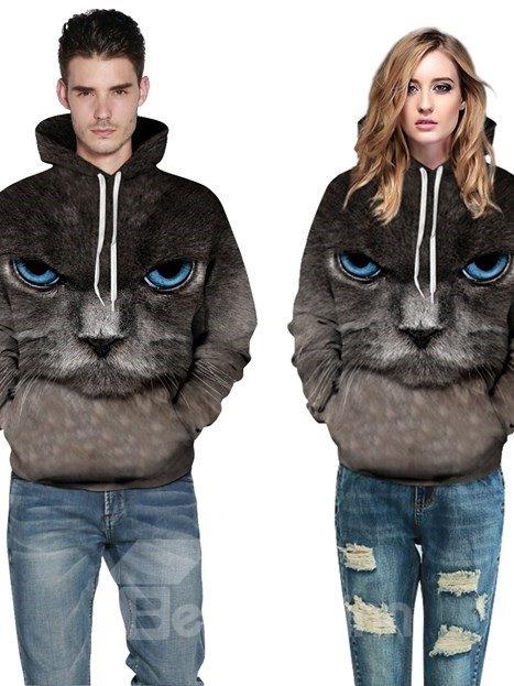 Long Sleeve Persian Cat Face Pattern Pocket 3D Painted Hoodie