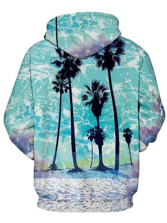 Bright Long Sleeve Coconut Tree Pattern Pocket 3D Painted Hoodie