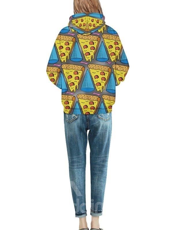 Long Sleeve ET Eat Pizza Pattern Pocket 3D Painted Hoodie