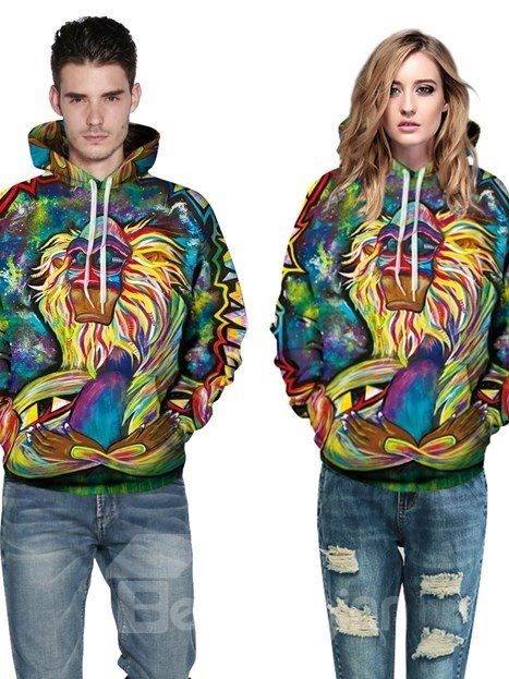 Long Sleeve Special Pattern Pocket 3D Painted Hoodie