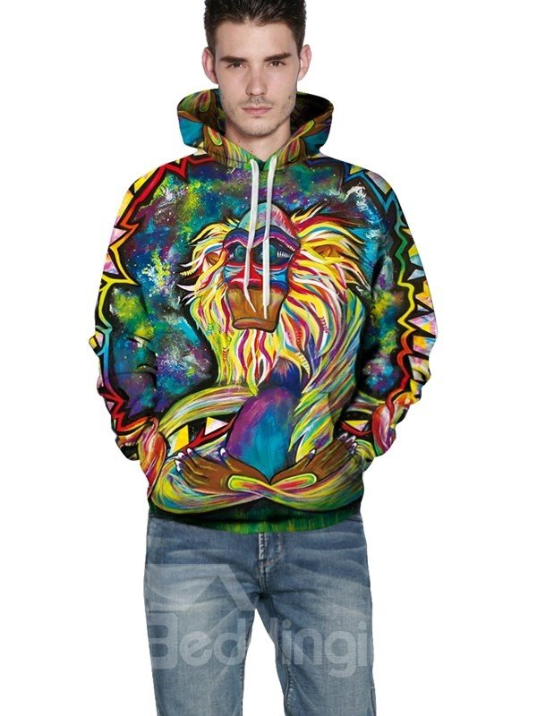 Long Sleeve Animals Apes Special Pattern Pocket 3D Painted Hoodie
