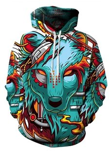 Long Sleeve Cartoon Wolf Pattern Pocket 3D Painted Hoodie