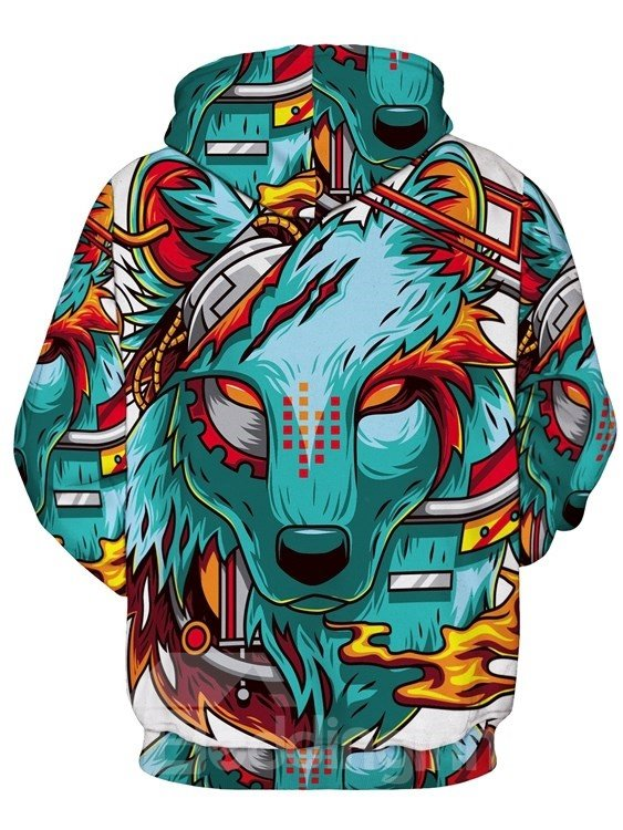 Long Sleeve Cartoon Wolf Pattern Pocket 3D Painted Hoodies