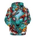 Long Sleeve Cartoon Wolf Pattern Pocket 3D Painted Hoodie