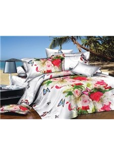 Noble Rose and Butterfly Print 4-Piece Polyester Duvet Cover Sets