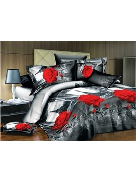3D Red Rose and Eiffel Tower Print 4-Piece Polyester Duvet Cover Sets
