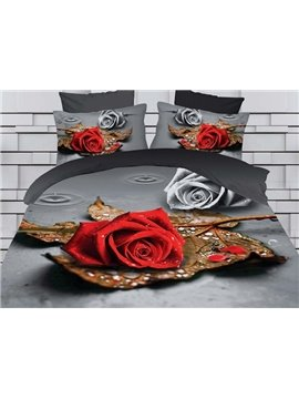 Dignified Rose and Leaf Print 4-Piece Polyester Duvet Cover Sets