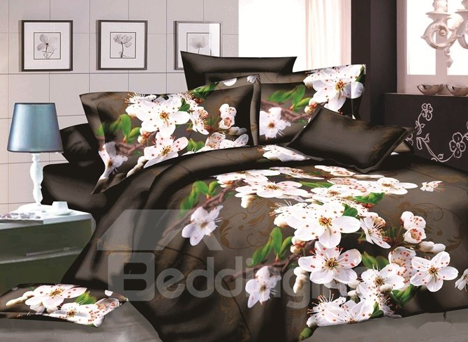 Fragrant Cherry Blossom 3D Print 4-Piece Polyester Duvet Cover Sets