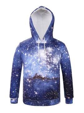 Shining Long Sleeve Galaxy Style Pocket 3D Painted Hoodie