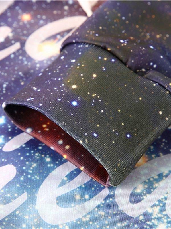 Long Sleeve Galaxy Style Pocket 3D Painted Hoodie