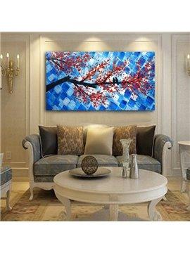Handmade Rectangle Birds on Plum Blossom Branch Pattern Canvas Wall Art Print