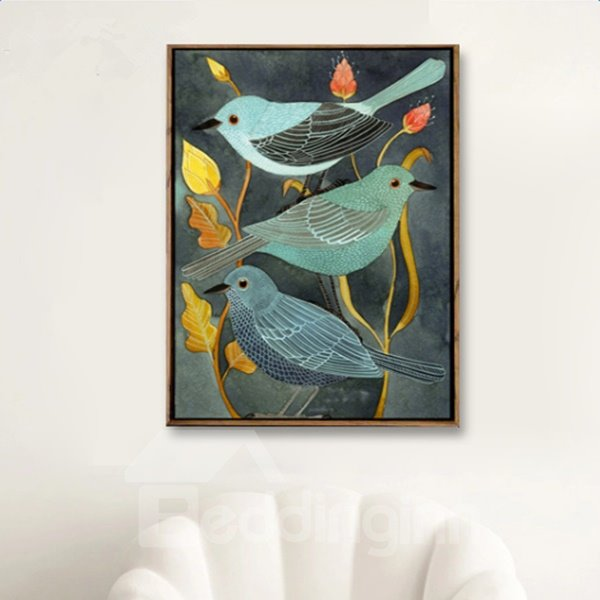 Simple Style Handmade Three Birds on Branch Pattern Canvas Oil Painting