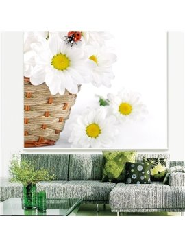 Aesthetic White Daisy Printing 3D Roller Shades