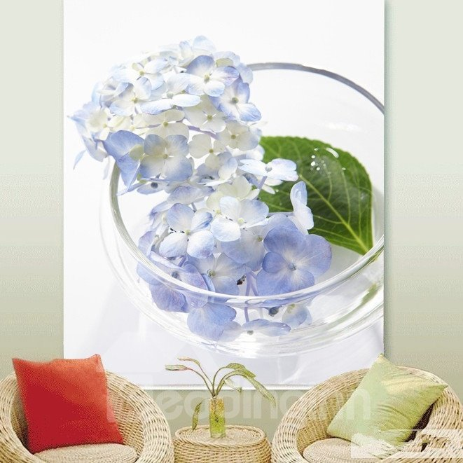 Cute Purple Flowers in Glass Bowl Printing 3D Roller Shades