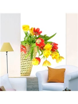Colorful Tulip in the Basket Printing 3D Roller Shades