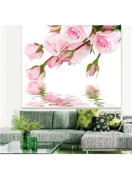 Romantic Pink Rose on the Water Printing 3D Roller Shades