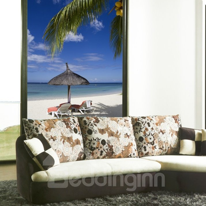 Parasol on the Beach Printing 3D Roller Shades