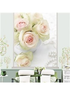 Romantic White Roses Printing 3D Roller Shades