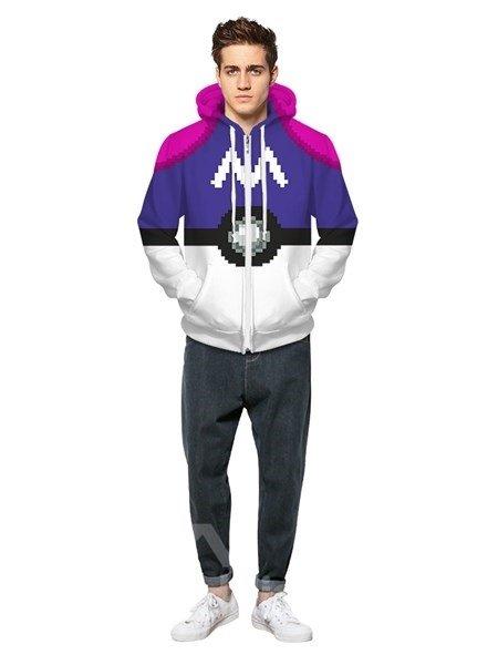 Long Sleeve Purple Poke Ball Pattern Pocket 3D Painted Hoodie
