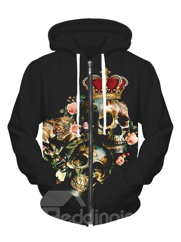 Halloween Style Long Sleeve Skull Wear Crown Pattern Pocket 3D Painted Hoodie