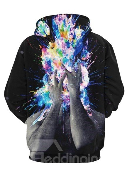 Long Sleeve Hands Pattern Pocket 3D Zipper Painted Hoodie