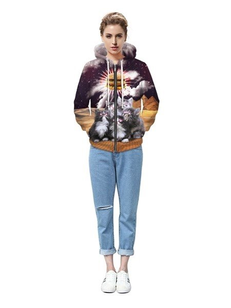 Long Sleeve Five Cats Pattern 3D Painted Hoodie