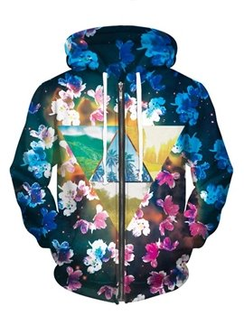 Elegant Long Sleeve Flowers Pattern Pocket 3D Painted Hoodie