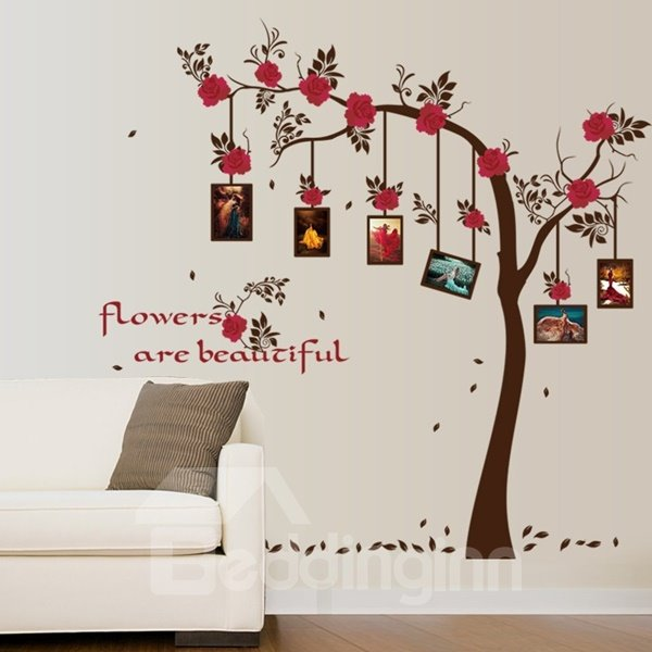 Graceful Home Decorative Flower on Tree with Photo Frame Wall Stickers