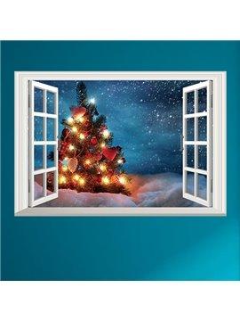 Creative Rectangle Beautiful Tree with Light Window Scenery Christmas Decoration Wall Stickers