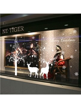 White Simple Tree and Deer Pattern Christmas Decoration Wall Stickers