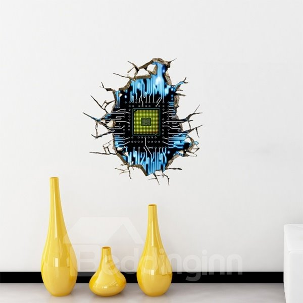 Wonderful Rectangle Chip Pattern Through the Hole 3D Wall Sticker