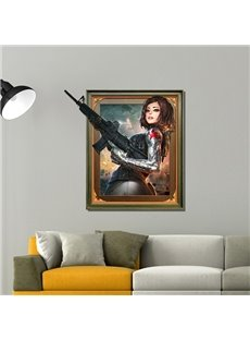 Charming and Sexy Cartoon Female Warrior With a Gun Pattern 3D Wall Sticker