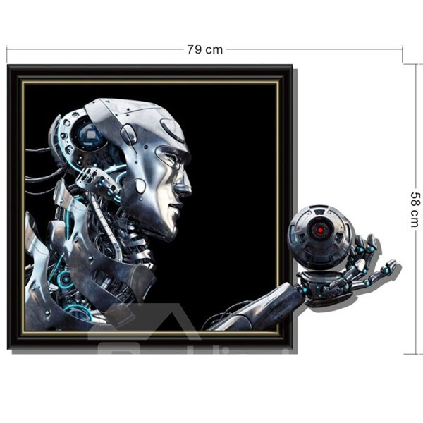 Creative Modern Fashion Robot Head Pattern Home Decorative 3D Wall Stickers