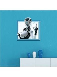 Modern Design White Beautiful Female Robot Pattern 3D Wall Stickers