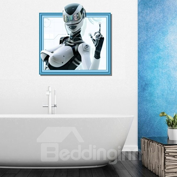 Modern Design White Beautiful Female Robot Pattern 3D Wall Stickers