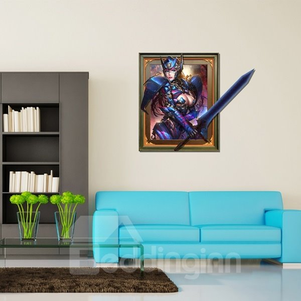 Creative Rectangle Charming and Sexy Woman Warrior with a Sword Pattern 3D Wall Sticker