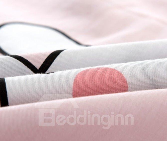 Cute Rabbit Pattern Kids Cotton 4-Piece Duvet Cover Sets